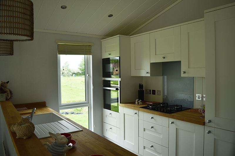 Internal view of a holiday lodge kitchen